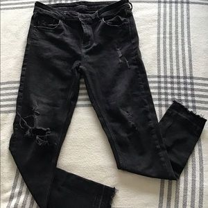 Zara - Washed black ripped jeans